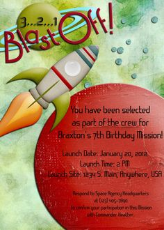 Outer Space Birthday Party Digital Invitation  by DecidedlyDigital, $15.00