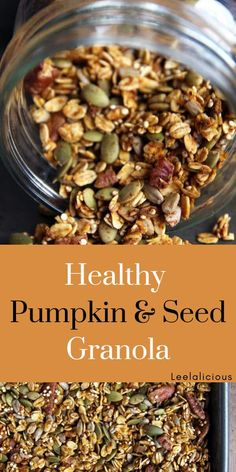 Recipes Quinoa This crunchy, Healthy Pumpkin Granola is chock-full of healthy quinoa, sunflower and pumpkin seeds. It makes for a great seasonal breakfast. Low Carb Granola, Vegan Granola, Oat Granola Recipe Healthy, Homemade Granola Recipes, Gluten Free Granola, Whole Food Recipes, Snack Recipes, Cooking Recipes, Cooking Tips
