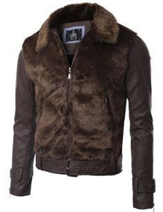 Mens Belted Leather Fur Jacket