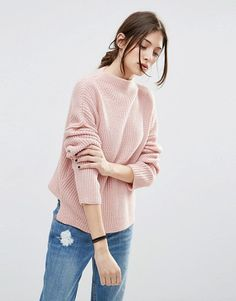 Ultimate Chunky Sweater with High Neck by Asos. Sweater by ASOS Collection, Lightweight chunky knit, High neckline, Dropped shoulders, Relaxed fit, Machine wash, 100% Acrylic, Our model wears a UK 8/EU 36/US 4.  #asos