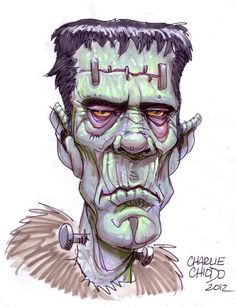 Frankenstein Illustration Cartoon, Halloween Illustration, Arte Horror, Horror Art, Model Tattoo, Bride Of Frankenstein, Victor Frankenstein, Horror Monsters, Creepy Pictures