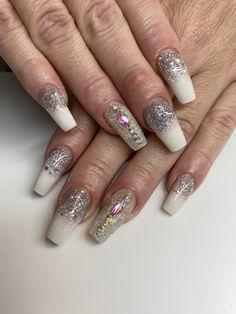 #coffinnails #nailtrends #calinails #nailsonfleek #prettynails #acrylicnails #ombrenails #blingnails #glowinthedark #glitternailsacrylic #nailcrystals Glitter Acrylics, Acrylic Nails, White Ombre, Pretty Nail Designs, Crystal Nails, Bling Nails, Nail Trends, Nails On Fleek, Coffin Nails