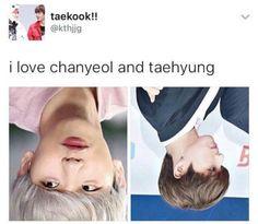 I actually thought Jungkook was Baekhyun. Beakhyun does look like Chanyeol upside down tho, I just didn't think that Jungkook looked like Taehyung. Kdrama Memes, Funny Kpop Memes, Exo Memes, Taekook, K Pop, Chanyeol, Taehyung And Baekhyun, Jimin, Xiuchen