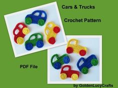 Crochet Pattern Car and Truck Applique | YouCanMakeThis.com