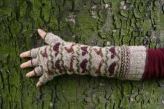 Tortoise and Hare gauntlets pattern by Kate Davies Designs Fingerless Mittens, Knit Mittens, Knitted Gloves, Knit Socks, Knitting Designs, Knitting Projects, Knitting Patterns, Knitting Ideas, Fair Isle Knitting