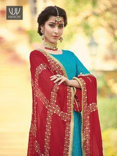Buy Blue Jacquard Suit, Designer Palazzo Suit - VJV Fashions Anarkali Lehenga, Lehenga Suit, Party Wear Lehenga, Saree, Suits For Sale, Suits For Women, Plazzo Suits, Pakistani Suits, Burgundy Color