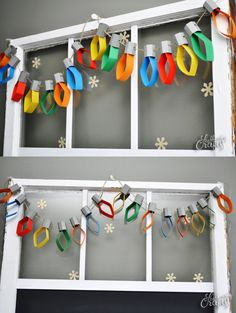 This Christmas lights garland is a simple craft pr… DIY CHristmas lights garland. This Christmas lights garland is a simple craft project that will give the kids something to do on a stormy day! Christmas Party Decorations Diy, Christmas Lights Garland, Easy Christmas Crafts, Christmas Holidays, Ribbon Decorations, Light Garland, Christmas Art For Kids, Christmas Activities For Children, Diy Garland