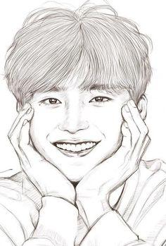 Easy Love Drawings, Unique Drawings, Art Drawings Sketches Simple, Lee Jong Suk, Lee Jung Suk Wallpaper, Art Painting Gallery, Kpop Drawings, Draw On Photos, Korean Art