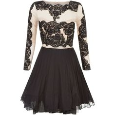 AX Paris Cream Lace Panel Skater Dress ($77) ❤ liked on Polyvore featuring dresses, mini dress, skater dress, cream lace dress, long sleeve dresses i long sleeve fit and flare cocktail dress