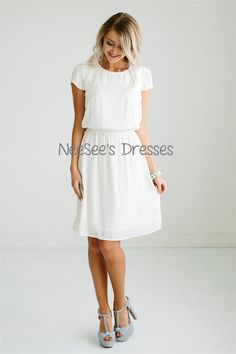 Dress for teenagers This really is the perfect sundress and it is here just in time for summer! This really is the perfect sundress and it is here just in time for summer! This light-weight dress features pretty lace details on the bodice… Modest White Dress, Modest Dresses For Women, Simple White Dress, Modest Bridesmaid Dresses, White Dress Summer, Modest Outfits, Modest Fashion, Dress Outfits, Clothes For Women