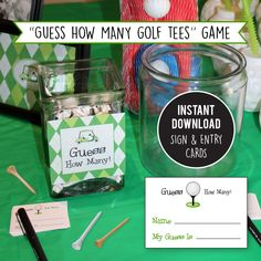 Paper goods and DIY printables for parties and holidays Golf Party Games, Golf Outing, Golf Theme, Number Games, Guessing Games, Office Parties, 80th Birthday, Party Themes, Party Ideas