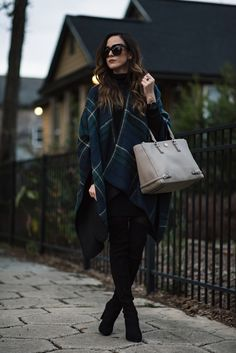 plaid cape, long sleeve black dress, otk black boots, light grey purse