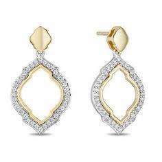 Enchanted Disney Jasmine 0.18 CT Diamond Arabesque Outline Drop Earrings | eBay