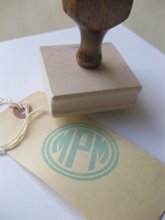custom monogram wooden hand stamp...