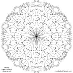 January Birthstone and Flower Mandala to color- carnation and garnets