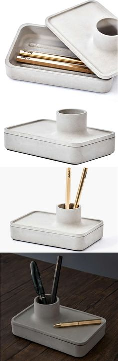 Concrete Office Desk Organizer Collection Smart Phone Stroage Box Holder Pen Pencils Holder Business Card Stand Holder Office Desk Supplies Stationary Organizer