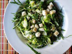 arugula + shaved zucchini salad // lemony vinaigrette, capers, aged cheese