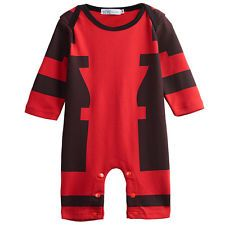Baby Boys Deadpool Romper Costume Toddler Jumpsuit Long Sleeve Size 0-18M
