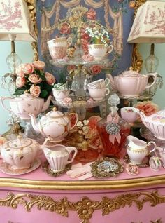 teapot collection, how lovely, even the lamp shades are beautiful