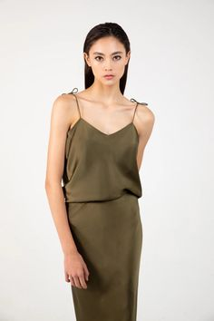 in olive green silk charmeuse Silk Charmeuse, Green Silk, Olive Green, Camisole, Bridesmaid, Pairs, Blazer, Sexy, Beautiful