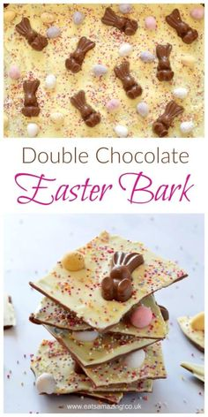 Quick and easy double chocolate Easter bark - fun and easy recipe for kids - great for homemade gifts - Eats Amazing UK recipes dessert recipes dessert brunch recipes dessert cake recipes dessert easy recipes dessert kids recipes dessert video Dessert Simple, Slow Cooker Desserts, Easter Chocolate, Chocolate Bark, Chocolate Gifts, White Chocolate, Kid Desserts, Dessert Recipes, Easter Appetizers