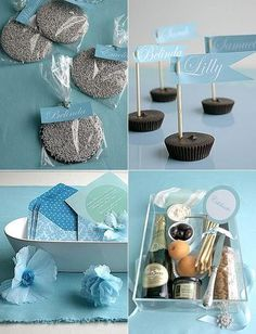 Name placecards & chocolate favors...love the idea on the top right.