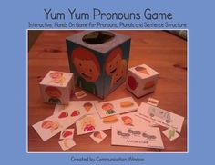 """The Yum Yum Pronouns Interactive Game Pack contains printable templates and game cards to create a fun game to work on the pronouns """"he"""", """"she"""", and """"they"""". All you need to add is a square tissue box or sandwich baggies to make a fun and interactive game. Preschool Speech Therapy, Speech Therapy Games, Speech Language Therapy, Speech And Language, Speech Pathology, Receptive Language, Pronoun Activities, Speech Therapy Activities, Language Activities"""