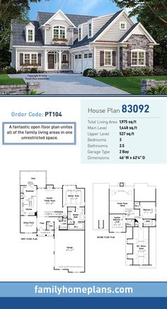 Cottage House Plan 83092 | Total Living Area: 1,975 SQ FT, 3 bedrooms and 2.5 bathrooms. A fantastic open floor plan unites all of the family living areas in one unrestricted space. #cottagehome