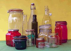 Coloured bottles and jars