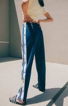 adidas Adibreak Navy & White Track Pants - All About Fashion Joggers, Adidas Fashion, Women's Fashion, Adidas Joggers, Adidas Trackies, Snap Pants, Adidas Retro, Adidas Outfit, Sporty Outfits