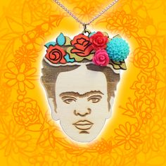 We wanted to pay tribute to our favourite artist in the most creative way possible, so we made these laser cut wooden birch pendants which are then hand painted by our jewellery maker. They're then finished with some extra details, vibrant floral cabochons, to make the flowers in her hair really stand out! Each one is completely unique 🌻🌼🌷 #fridakahlo #handmade #madewithlove #extremelargeness #handmadenecklace #woodenjewellery #feminist #summerfashion #festivalfashion #afflecks Handmade Necklaces, Handmade Jewelry, 70s Glam Rock, Jewellery Maker, Pink Turquoise, Wooden Jewelry, Brass Color, Festival Fashion, Her Hair