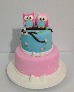 Bolo Corujinhas #cake #cakeart #fontant #coruja
