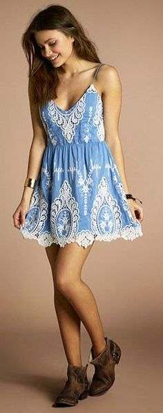 Blue Lace Light Weight Summer Dress--no to the shoes, yes to the dress! Lace Summer Dresses, Cute Dresses, Lace Dress, Summer Outfits, Dress Up, Cute Outfits, Swag Dress, Dress Shoes, Boho Fashion
