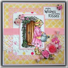 I clean forgot to post another of the Adorables cards yesterday, so today you get a double dose lol. The stamps, by Jayne Nestorenko , are . Sending Kisses, Craftwork Cards, 60th Anniversary, Crafters Companion, Vintage Stamps, Flower Cards, Kids Cards, Fun Games, Homemade Cards