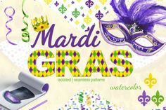 Mardi Gras watercolor set By Dolly Potterson