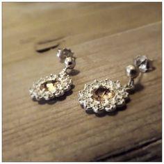 Orecchini in Argento 925 con brillante citrino e zirconi bianchi - Fatto in Umbria - Italia - Collezione Queen- Giorgio Guidi Gioielli
