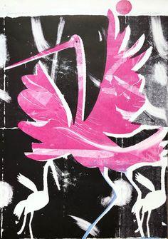 Dancing Cranes by Charles Shearer Royal College Of Art, Art School, Crane, Fascinator, Color Inspiration, Printmaking, Stencils, Dancing, Moose Art