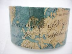 Vintage Map Decoupage Cuff Bracelet by cuffscouture on etsy