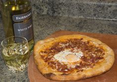 My breakfast pizza with a glass of white port for dinner