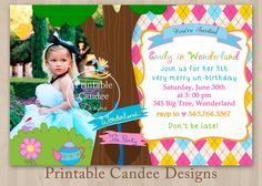 193 best alice and wonderland 1st bday themed party images on alice in wonderland birthday invitation custom by printablecandee filmwisefo