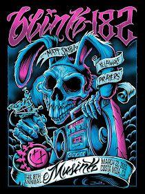 Blink 182 with Matt Skiba · Musink 2015 Silkscreen Poster by Brandon Heart Blink 182 Poster, Desenho New School, Rock Band Posters, Illustration Art, Illustrations, Halloween Poster, Music Artwork, Arte Horror, Poster On