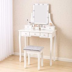 Makeup Table With Mirror, Vanity Table Set, Makeup Table Vanity, White Vanity Desk, Bedroom Desk, White Bedroom, Mirror With Lights, Lighted Mirror, Cheap Ikea Desk