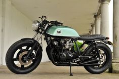1981 Honda CB750 Brat Racer – The Green One. Built by Taimoshan Cycle Works. Probably the handlebars I'd want for my CB750.