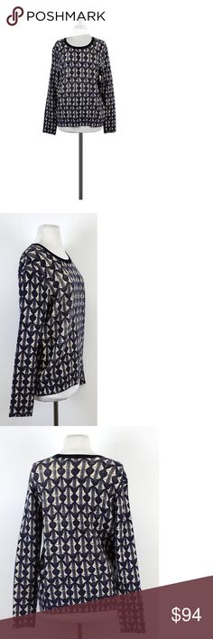 """Tory Burch- Navy & Cream Patterned Wool Sweater Sz L Warm yourself up with this navy and cream patterned sweater. The merino wool keeps you soft and cozy. Size large 100% merino wool Pull over Long sleeves Crewneck Navy trim on neckline Ribbed at neckline & hem Navy & cream geometric pattern Shoulder to hem 25.5"""" Bohemian, preppy, hippy, young, & luxe are all words to describethis designer's style. Tory Burch has a signature style but also keeps up with new trends and creates some of her…"""