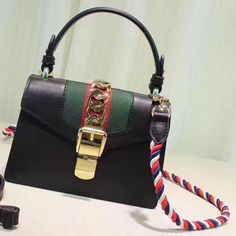 Gucci Sylvie Leather Mini Bag 470270 Size: cm Calf leather Blue/red nylon Web Gold toned hardware Nylon Web detail with metal cha. Gucci Outlet Online, Gucci Bags Outlet, Cheap Purses, Purses And Bags, Gucci Sylvie Bag, Black Gucci Purse, Designer Bags For Less, Cheap Handbags Online, Purse Styles
