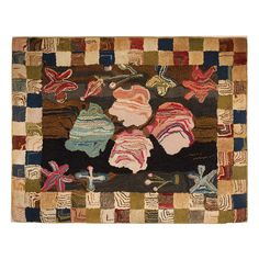 Early 20thc New England Mounted Hand Hooked Geometric Rug | From a unique collection of antique and modern rugs at http://www.1stdibs.com/furniture/folk-art/rugs/