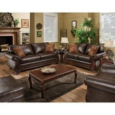 Chelsea Home Jefferson Sofa and Loveseat Set - New Era Walnut