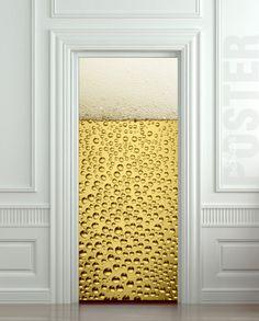 """GIANT Door Wall STICKER BEER bubbles drops foam decole film poster 31x79""""(80x200 cm)"""