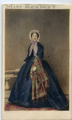 They don't come much nicer than this- look at the stripes on the shawl. Identified as Miss Herbert, she was probably a royal or at least aristocracy. By famous photographer, Mayall. | eBay!