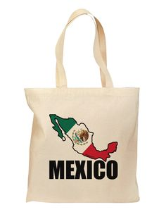 Mexico Outline - Mexican Flag - Mexico Text Grocery Tote Bag by TooLoud